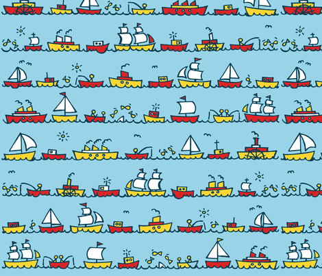 boats_restricted_palette fabric by littlemissquarter on Spoonflower - custom fabric