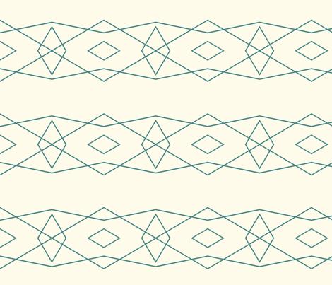 Teal on Cream Geometric fabric by bettieblue_designs on Spoonflower - custom fabric