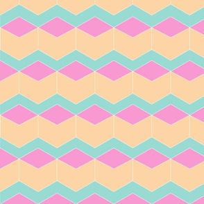 Block Chevron Peach & Pink