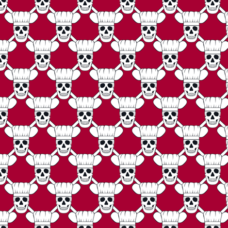 Chef Skull Small- Red fabric by shala on Spoonflower - custom fabric