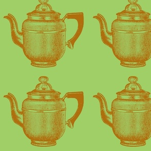 Coffeepot - Green and Brown