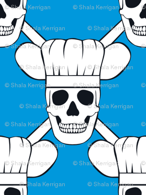 Chef Skull Small- Blue