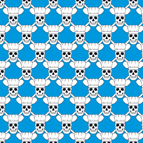 Chef Skull Small- Blue fabric by shala on Spoonflower - custom fabric