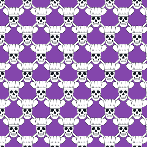 Chef Skull Small- Purple fabric by shala on Spoonflower - custom fabric