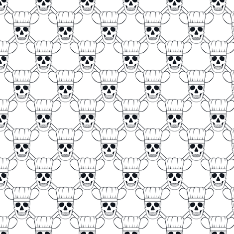 Chef Skull Small-White fabric by shala on Spoonflower - custom fabric