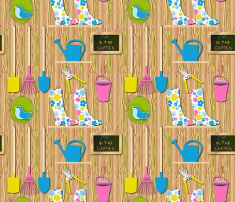 I'm In the garden (dark) fabric by vannina on Spoonflower - custom fabric