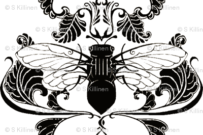Black and White Cicada Damask- Half Size