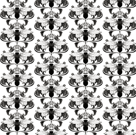 Black and White Cicada Damask- Half Size fabric by redsixwing on Spoonflower - custom fabric