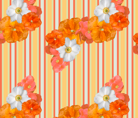 orange_floral_with_stripes fabric by bluewrendesigns on Spoonflower - custom fabric
