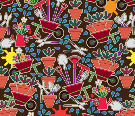 gardening_tools fabric by lilola on Spoonflower - custom fabric