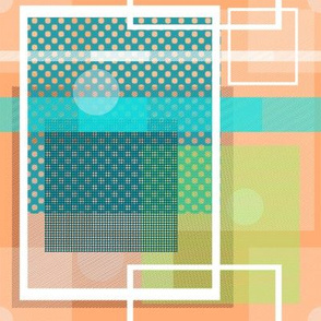 Teal Peach Lime Square Design