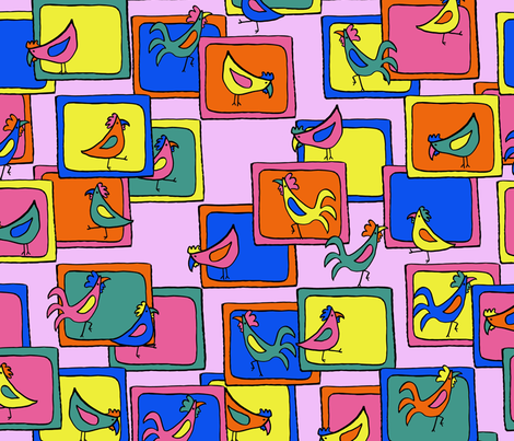 Chickens out of the box fabric by blotchandthrum on Spoonflower - custom fabric