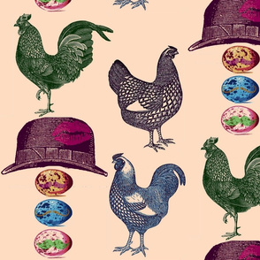 pop art  chickens & mustache eggs