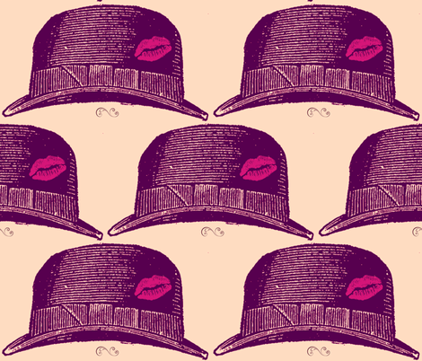 purple fedora with a kiss fabric by walkwithmagistudio on Spoonflower - custom fabric