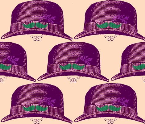 purple fedora with mustache and flower fabric by walkwithmagistudio on Spoonflower - custom fabric