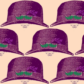 purple fedora with mustache and flower