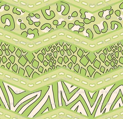 Jungle Animal Chevron All Green
