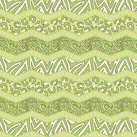 Jungle Animal Chevron All Green fabric by katrinazerilli on Spoonflower - custom fabric