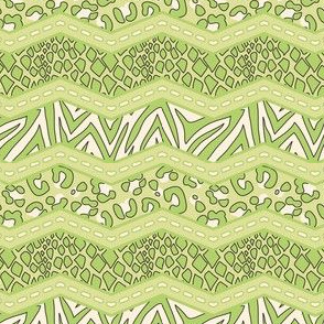 Jungle Animal Chevron All Green