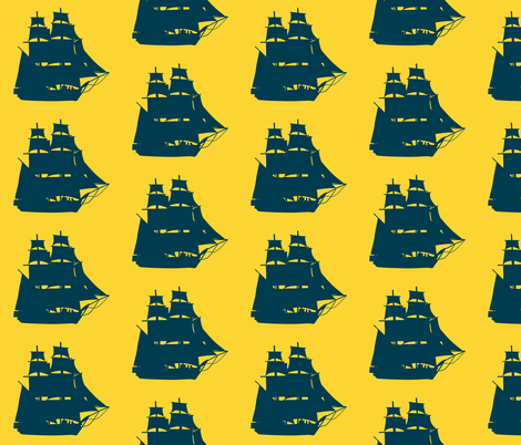 Navy Sailing Ships on Sunny Seas fabric by pennyroyal on Spoonflower - custom fabric
