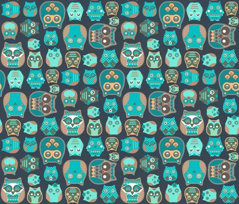 owls emerald fabric by katarina on Spoonflower - custom fabric