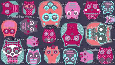owls pink blue