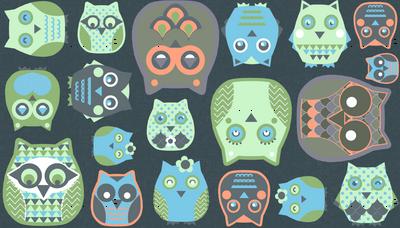 owls orange blue green