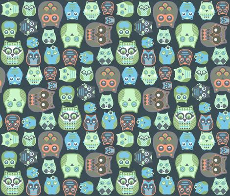 owls orange blue green fabric by katarina on Spoonflower - custom fabric