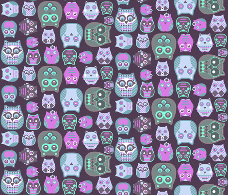 owls pink blue grey fabric by katarina on Spoonflower - custom fabric