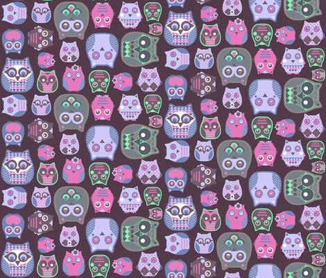 owls pink violet green fabric by katarina on Spoonflower - custom fabric