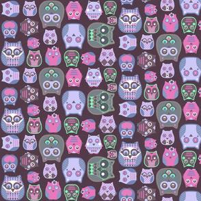 owls pink violet green