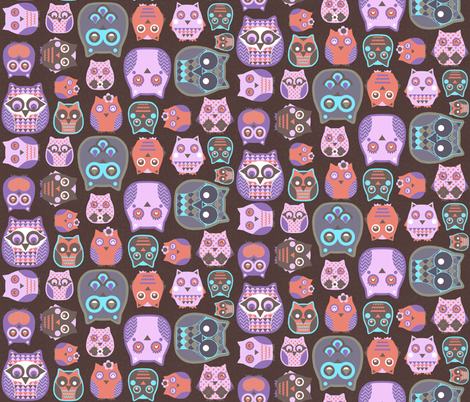 owls pink blue coral fabric by katarina on Spoonflower - custom fabric