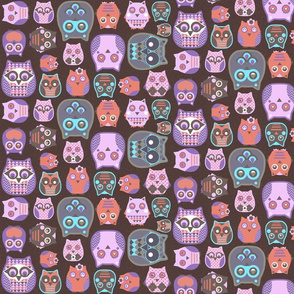 owls pink blue coral