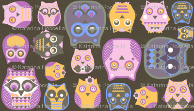 owls pink blue yellow