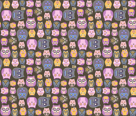 owls pink blue yellow fabric by katarina on Spoonflower - custom fabric
