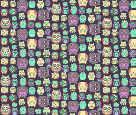 owls pink sage green fabric by katarina on Spoonflower - custom fabric