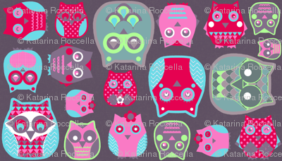 owls pink red blue green