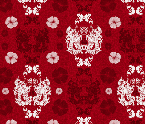 Dragons damask fabric by dinorahdesign on Spoonflower - custom fabric