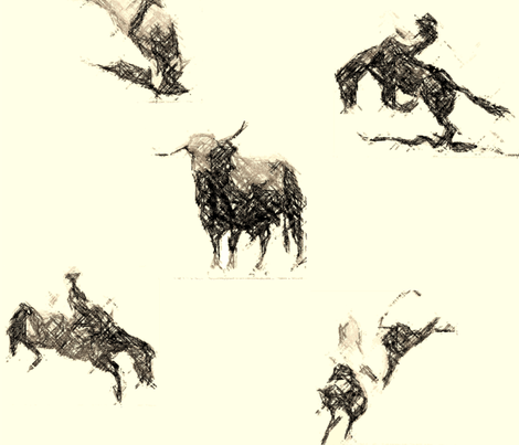 Ride'm Cowboy toile1 fabric by redmares on Spoonflower - custom fabric