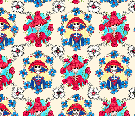 Mexican Catrinas Portraits fabric by dinorahdesign on Spoonflower - custom fabric