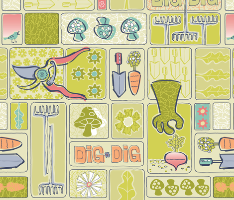DIG IT! fabric by gitchyville_stitches on Spoonflower - custom fabric