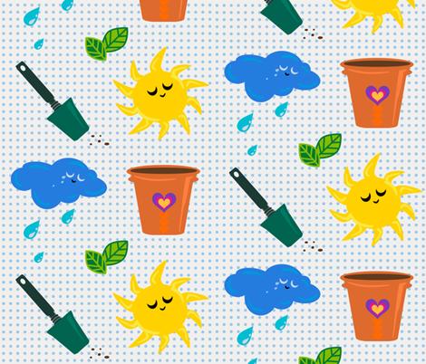 The Six Best! - Garden Tools - © PinkSodaPop 4ComputerHeaven.com fabric by pinksodapop on Spoonflower - custom fabric