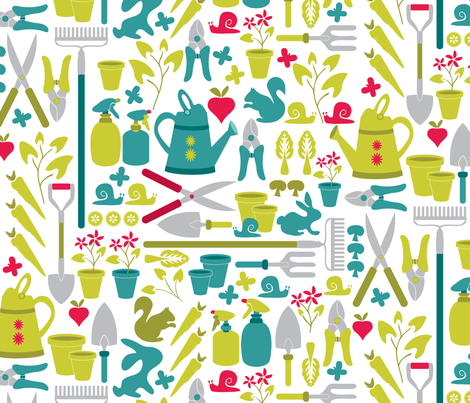 Gardening at the allotment fabric by ebygomm on Spoonflower - custom fabric