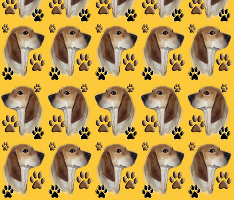 redtick_hounds_and_paw_prints fabric by dogdaze_ on Spoonflower - custom fabric