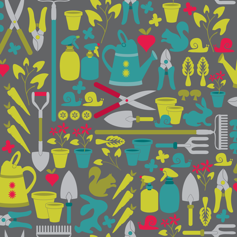 Gardening at the allotment on grey fabric by ebygomm on Spoonflower - custom fabric