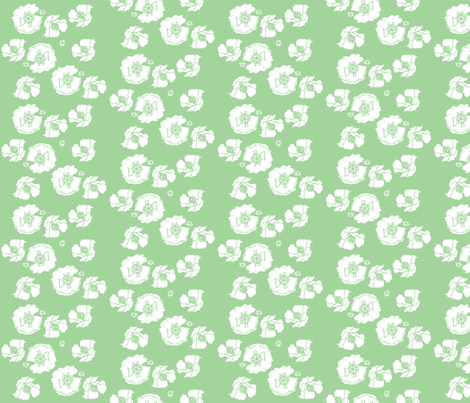 poppies_green fabric by snap-dragon on Spoonflower - custom fabric