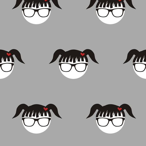 Pigtail Polka Punk Geek fabric by smuk on Spoonflower - custom fabric