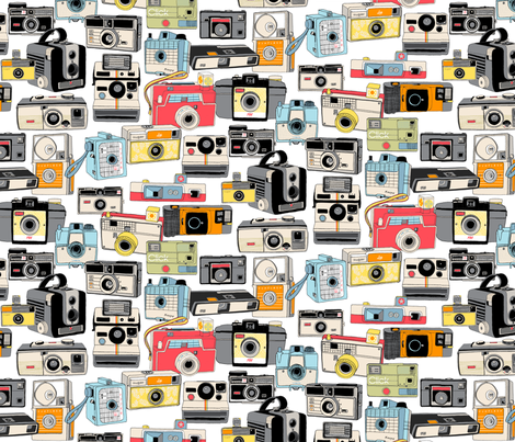 Make it Snappy! || vintage camera illustrations analog photography film photo photographer fabric by pennycandy on Spoonflower - custom fabric