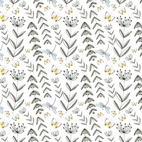 Wild Flowers - White | www.alexcolombo.com   fabric by studioalex on Spoonflower - custom fabric