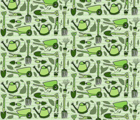 Ready for Spring - Gardening Tools fabric by martaharvey on Spoonflower - custom fabric